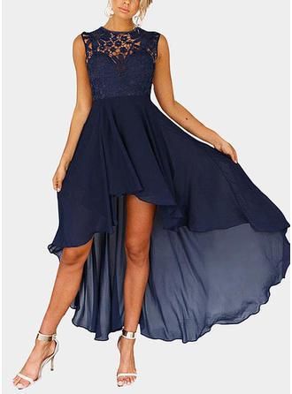 Lace Sleeveless A-line Asymmetrical Vintage/Sexy/Casual/Elegant Dresses