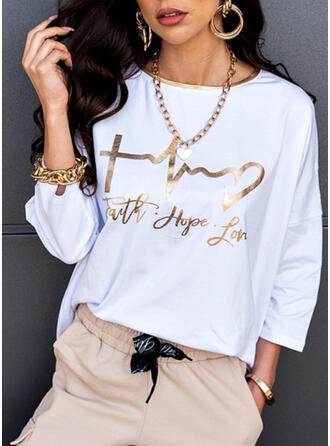 Print Figure Round Neck 3/4 Sleeves Casual T-shirts