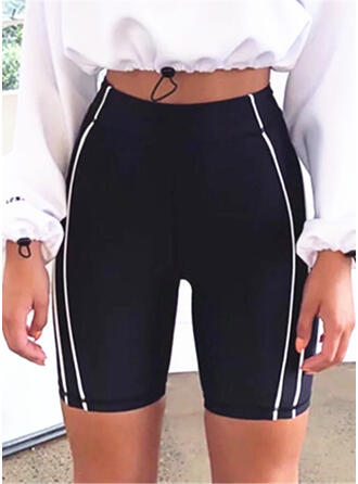 Striped Above Knee Casual Sexy Skinny Sporty Shorts
