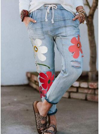 Floral Sequins Plus Size Drawstring Print Vintage Denim & Jeans