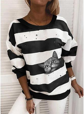 Animal Print Striped Round Neck Long Sleeves Sweatshirt