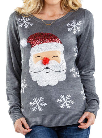 Women's Polyester Print Santa Ugly Christmas Sweater