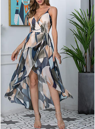 Print Sleeveless A-line Asymmetrical Casual/Vacation Wrap/Slip/Skater Dresses