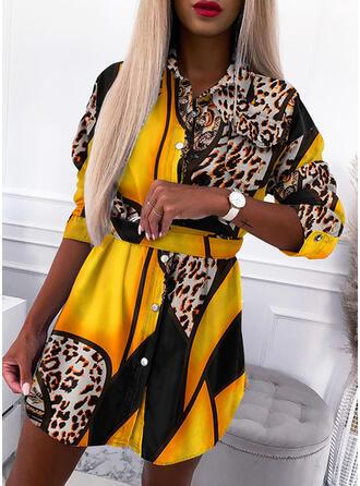 Impresión/Leopardo Manga Larga Cubierta Sobre la Rodilla Casual Vestidos