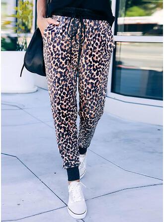 Leopardo Cordón Recortada Casual Deportivo Pantalones