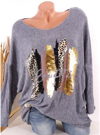 Sequins Leopard Round Neck Long Sleeves Casual T-shirts