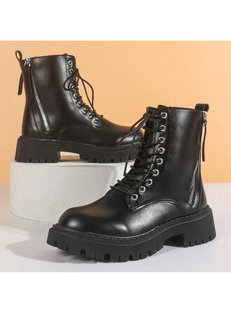 Women's PU Chunky Heel Ankle Boots Round Toe With Lace-up Breathable shoes