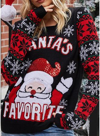 Women's Acrylic Santa Letter Ugly Christmas Sweater