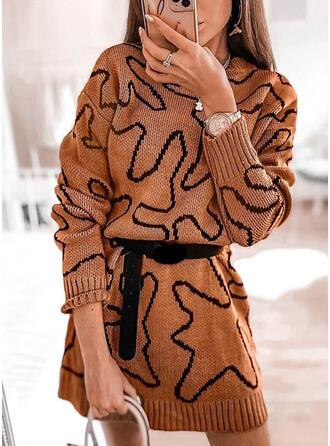 Impresión Cuello Redondo Casuales Largo Vestido de Suéter