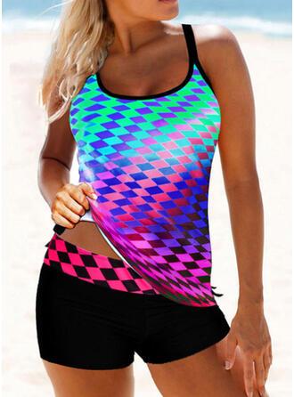 Neon Strap U-Neck Eye-catching Tankinis Swimsuits
