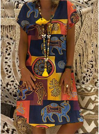 Print/Patchwork Short Sleeves Shift Knee Length Casual/Boho/Vacation T-shirt Dresses