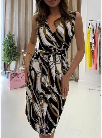 Print Sleeveless Bodycon Knee Length Vintage Dresses