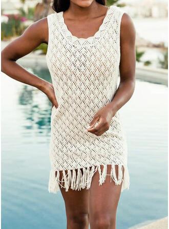 Dot Tassels U-Neck Casual Cover-ups Swimsuits