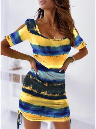 Tie Dye Mangas 1/2 Ajustado Sobre la Rodilla Casual Vestidos