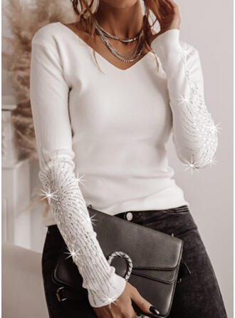 Solid Sequins V-Neck Long Sleeves Casual T-shirts