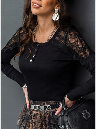 Solid Lace Round Neck Long Sleeves Button Up Elegant Blouses