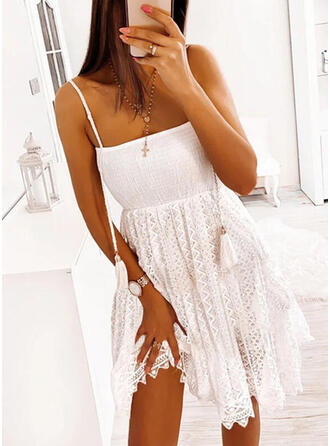 Lace/Solid Sleeveless A-line Above Knee Casual/Vacation Slip/Skater Dresses