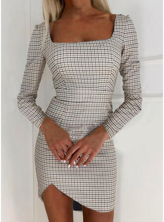 Plaid Long Sleeves Sheath Above Knee Elegant Dresses