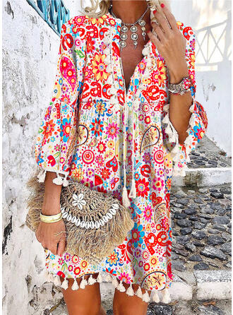 Print/Floral 3/4 Sleeves/Flare Sleeves Shift Above Knee Casual/Boho/Vacation Tunic Dresses