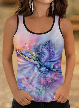 Floral Print Animal Round Neck Sleeveless Tank Tops