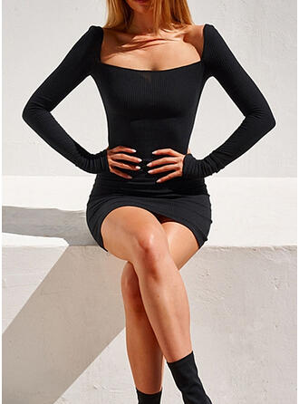 Solid Long Sleeves Bodycon Above Knee Little Black/Sexy Dresses