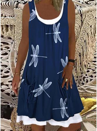 Animal Print Sleeveless Shift Knee Length Casual Tank Dresses