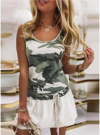 Print/Camouflage Sleeveless A-line Above Knee Casual Skater Dresses