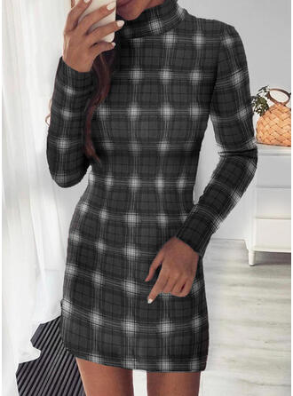 Plaid Long Sleeves Bodycon Above Knee Christmas/Casual Dresses
