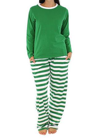 Cotton Striped Long Sleeves Christmas Pyjama Set