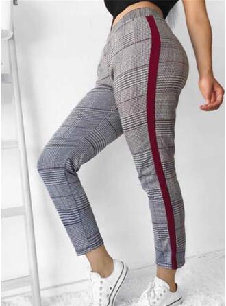 Patchwork Plaid Casual Elegant Pants