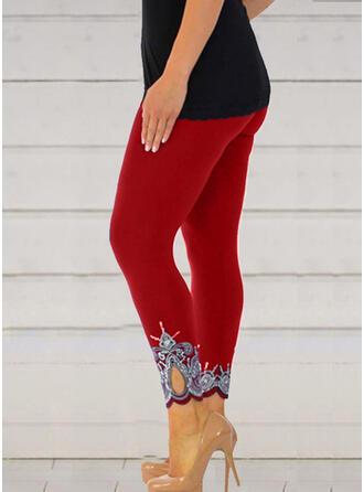 Jacquard Print Plus Size Casual Sexy Skinny Leggings