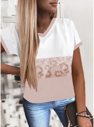 Color Block Leopard Print Chiffon V-Neck Short Sleeves T-shirts