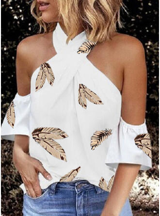 Print Cold Shoulder 3/4 Sleeves Elegant Blouses
