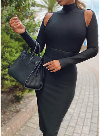 Solid Long Sleeves/Cold Shoulder Sleeve Bodycon Knee Length Little Black/Sexy Pencil Dresses