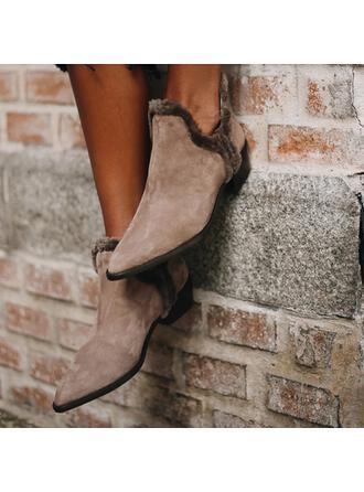 De mujer Ante Tacón plano Botas al tobillo Dedo del pie puntiagudo con Color sólido zapatos