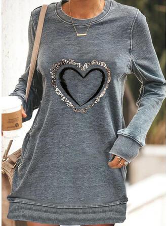 Print/Sequins Long Sleeves Shift Above Knee Casual Sweatshirt Dresses