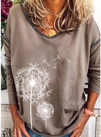 Print Dandelion V-Neck Long Sleeves Casual T-shirts