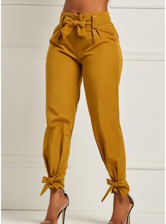 Sólido Fruncido Largo Elegante Sexy Pantalones