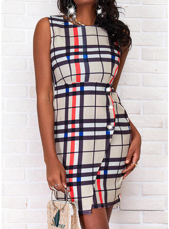 Plaid Sleeveless Shift Above Knee Casual Dresses