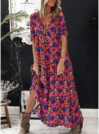Impresión/Floral Mangas 1/2 Tendencia Casual Maxi Vestidos