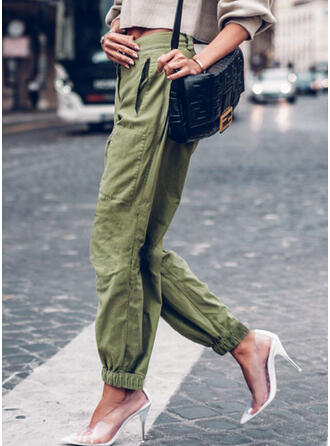Solid Shirred Casual Sporty Lounge Pants