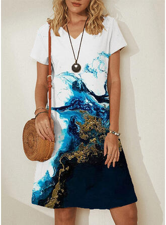 Print Short Sleeves Shift Knee Length/Maxi Casual Dresses
