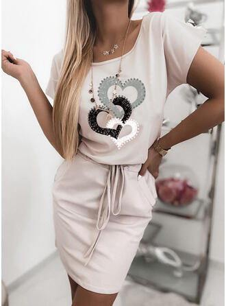 Print/Heart Short Sleeves Bodycon Above Knee Casual Dresses