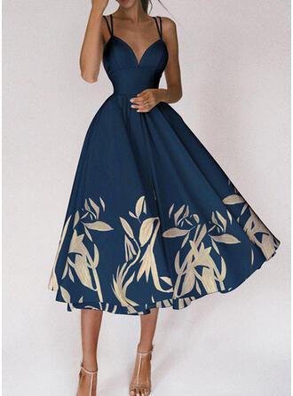 Print Sleeveless A-line Slip/Skater Party Midi Dresses