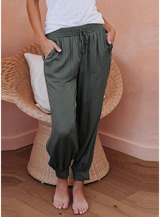 Bolsillos Fruncido Cordón Largo Casual Llanura Pantalones
