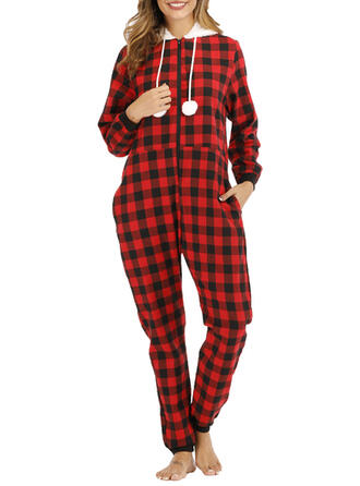Polyester Long Sleeves Christmas Grid Romper