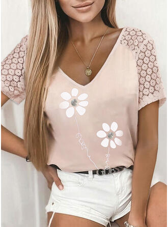 Print Floral Lace Letter V-Neck Short Sleeves Casual Blouses