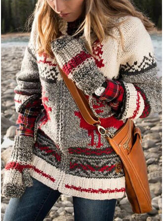 Color Block Animal Print Round Neck Casual Christmas Cardigan