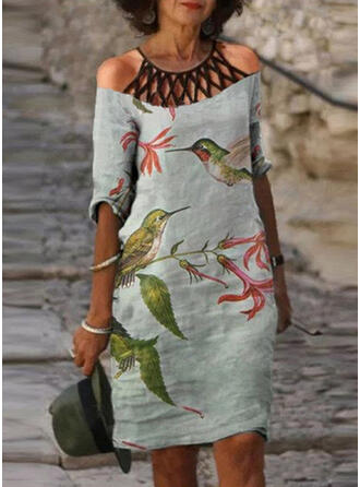 Print/Floral/Animal 1/2 Sleeves Shift Above Knee Casual Tunic Dresses