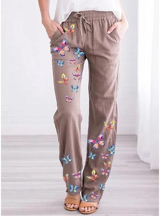Jacquard Bolsillos Talla extra Largo Casual Impresión Pantalones
